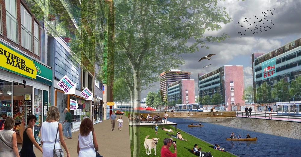 Artist impression deel nieuwe Jan Evertsenstraat. (Illustratie gemeente Amsterdam)