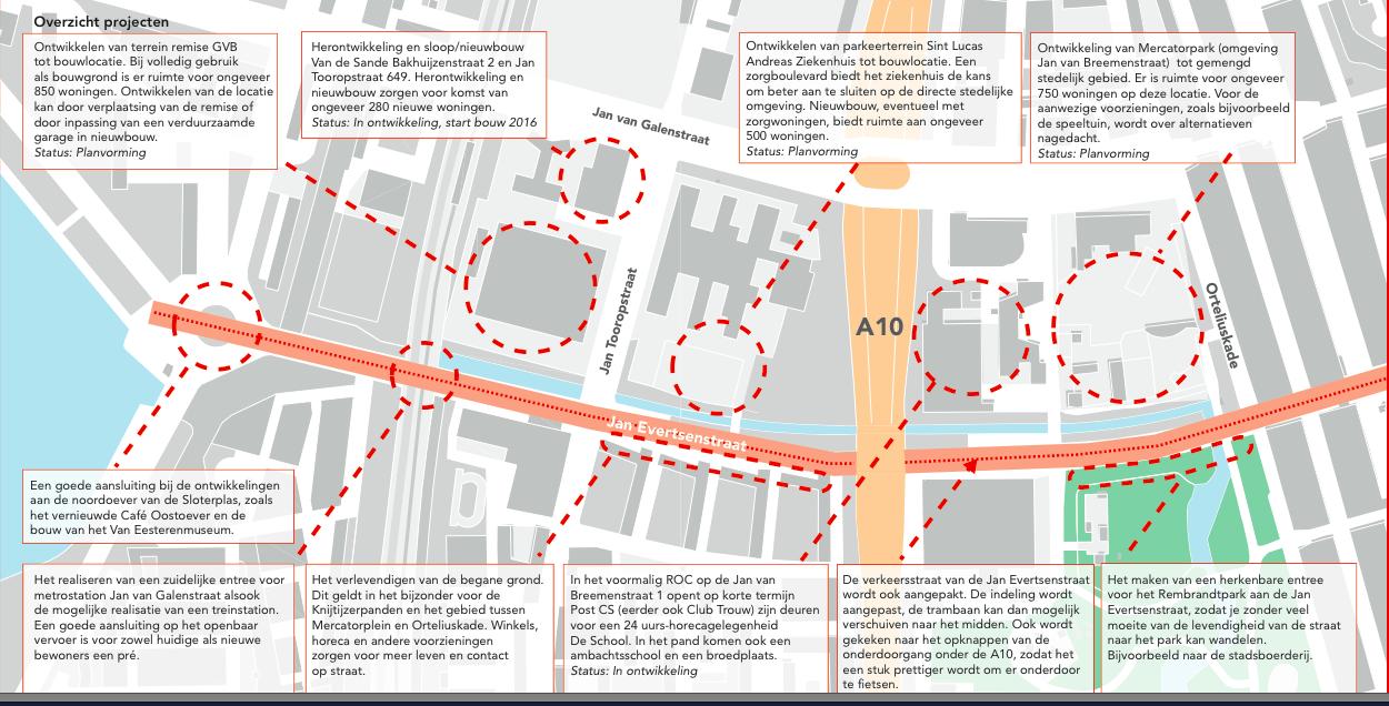 Toekomstige projecten rond de Jan Evertsenstraat. (Kaart: gemeente Amsterdam)