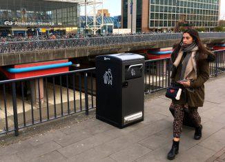 Slimme afvalcontainer van Havenbedrijf Amsterdam op Sloterdijk